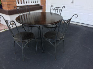 Wood/wrought iron Round Table & 4 chairs