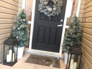 Christmas decor - indoor outdoor prelit wreath & trees