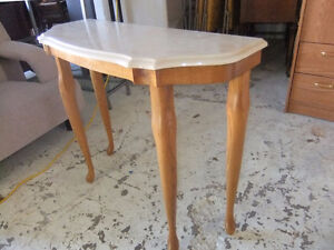 marble top hall table with queen anne legs exc cond