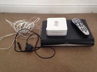 Sky plus Hd box, remote and router
