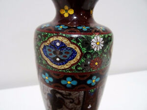 antique Chinese CLOISONNE VASE small FOUR BIFID dragons birds Cambridge Kitchener Area image 3