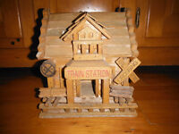 Wooden train station house