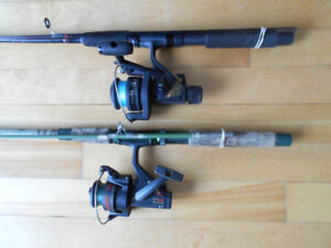 2 Cannes moulinets a peche, 2 Fishing rods and reels