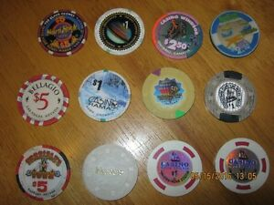 Lot of 12 Chips from many casinos including The Bellagio
