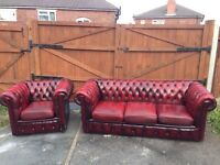 2 piece suite oxblood CHESTERFIELD red genuine antique leather - can deliver