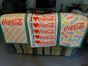 "3 Coca Cola dish or bar towels, 18"" x 27"", never used"