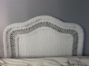 WHITE WICKER HEADBOARD