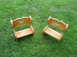 2 Hand Crafted Wooden Doll/ Bear Benches with Heart Design
