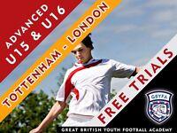 Free Football Trials - GBYFA U15 & U16 Advanced Players - Tottenham area
