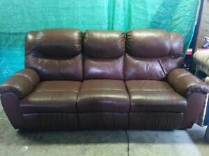 Brand New Dual Reclining 100% Leather Couch - Delivery