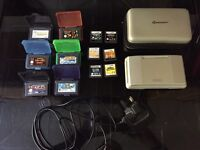 Retro gaming set with Nintendo DS in full working order, charger, case and 12 games