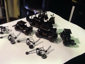 Copper Colored Tin Figurines ( boats, cars, motorcycles) $10