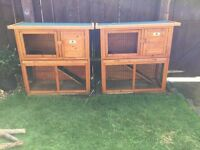 X2 Rabbit Hutches with rabbits and accessories