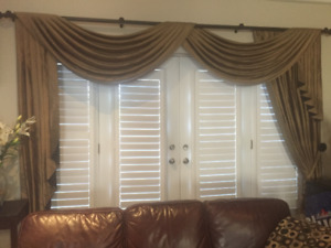 drapes like new with hardware, silk paid 20K, asking 500.00