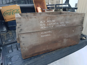 Large hardwood imperial oil co crate