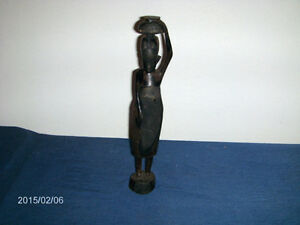 VINTAGE HAND CARVED WOODEN STATUE-AFRICAN-TANZANIA-1950S