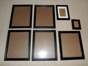 Lot of 7 Picture Frames in Black