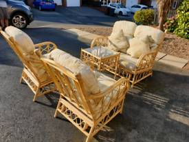 Cane Sofa Chairs Table
