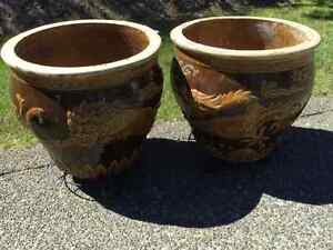 "Pair of Large Asian Planters-""1000 year egg pots"""