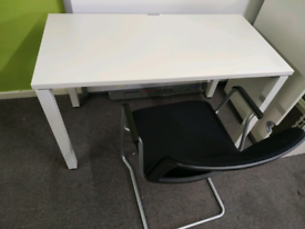 White office desk with comfortable chair 120cm or 100cm