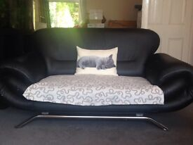 House clearance - black faux leather sofas