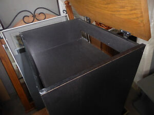 Multi-media stand for record player with glass door on wheels Kitchener / Waterloo Kitchener Area image 2