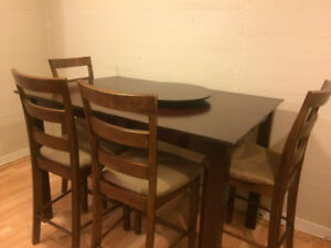Pub Height Dining table & 4 chairs $200