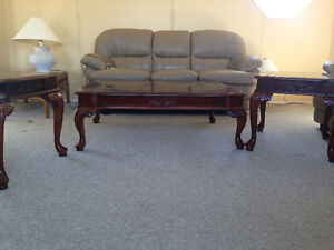 3 pc coffee table set with tinted glass top