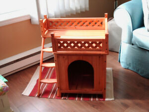 NEW- Wooden Dog House 2 Levels for small/Med Dog Reduced  $80.00