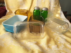 OLD KITCHEN GLASSWARE ~ Butter Dishes, Shakers etc.