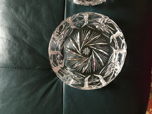 Two Pinwheel crystal ashtrays