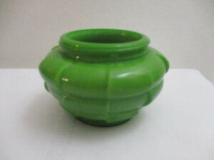 Vintage  (Art Deco?) Green Glass Vanity Jar