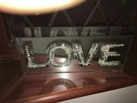 Silver and glass love tea light holder