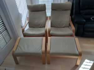 Ikea Poang Chairs, Birch wood, Beige Leather, with foot stools