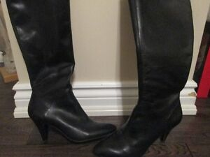 Black leather boots- small heel= like new