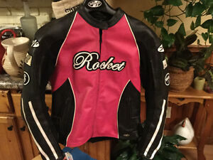 [Large] Pink/Black Leather Joe Rocket Motorcycle Jacket p