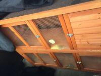 Twin outdoor rabbit hutch