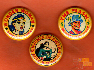 "Set of three 1"" vintage look DC comics pins buttons Flash Wonder Woman Superman"