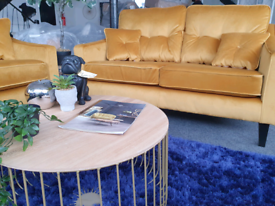 NEW Keaton 2.5 Seater Sofa Mustard Velvet DELIVERY AVAILAB