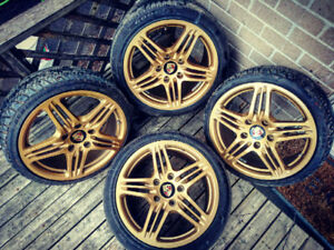 "CUSTOM 18"" INCH PORSCHE 911 TURBO GOLD RIMS WITH TIRES!!!!"
