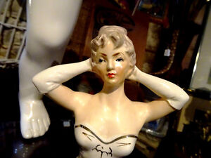 mid-century HALF DOLL porcelain MOVIE STAR CHIC Japan arms up