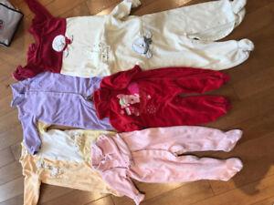 Lot de 6 pyjamas en velours 12-18 mois