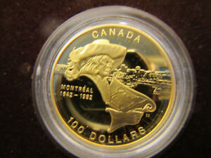 Gold coin, 1992 Royal Canadian Mint. Montreal 350th