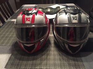 2 adult helmets and 2 kids helmets