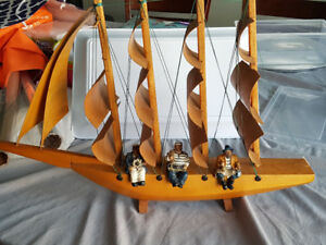Antique Wooden Ship with 3 Pirate Figurines for Sale - Cool Gift