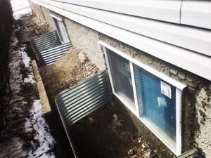 Egress Window Cut-Ins/Enlargements & Wells, Foundation Repairs