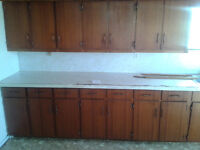 Mahogany cupboards ready for chalk paint.