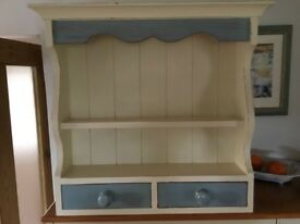 Shabby chic wall shelf with drawers