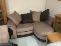Small brown corner suite new sale