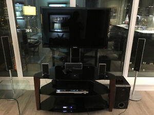 Wooden/ Glass TV table + SONY Home Theater with 5 Speakers